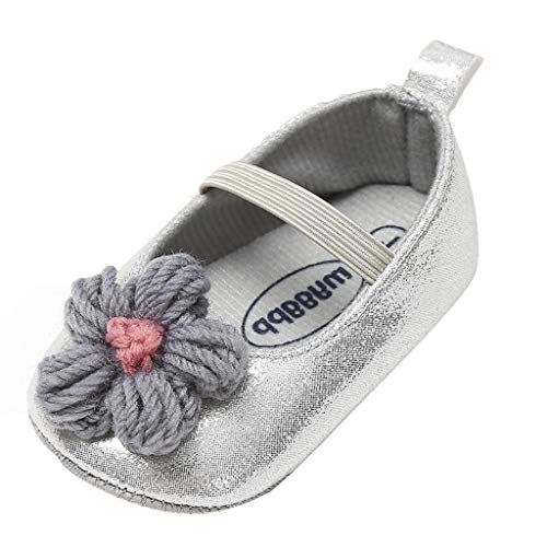Randolly Baby Shoes  Girls Pricess Flower Bling Cuty Fashion Toddler First Walkers Kid Shoes Gray ()