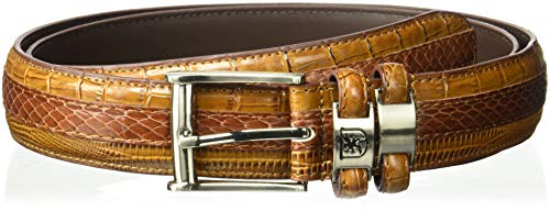 Stacy Adams Men's 35mm Genuine Snakeskin With Leather Embossed Crocodile And Lizard Belt, Cognac, 42