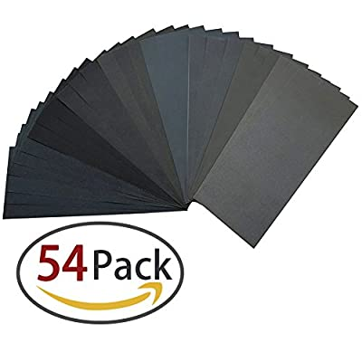 60 to 3000 Grit Sandpaper Assortment, Dry/ Wet, 9 x 3.6 Inch, 54 Pieces,Sand Paper for Automotive Sanding, Wood Furniture Finishing and Wood Turning Finishing by Homder by Homder