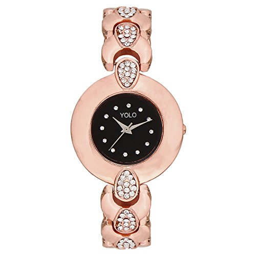 Yolo Quartz Crystal Studded Analog Watch for Women/Ladies/Girls    YLC 104    Valentine Gift for Girlfriend and Wife