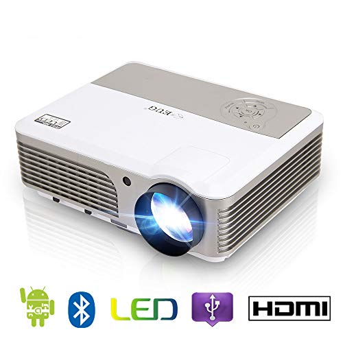 EUG LCD Bluetooth Wifi Home Projector HD 720P 1080P Supported Airplay Wireless Connectivity with Smartphone iOS Devices Android Movie Video TV Gaming Projectors-HDMIx2/USBx2/Audio/VGA/Speakers/Remote