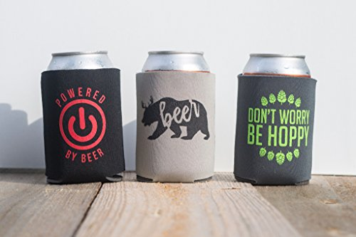 Funny witty beer can cooler trio – three pack