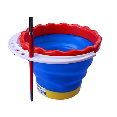 Chris.W Portable Collapsible Paint Brush Washer with Brush Holder and Handle, Great for Watercolor Acrylic Oil Painting, Premium Art Supplies(Random Color)