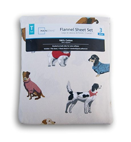 Dog Print on Ivory Flannel Sheet Set - Twin (Flannel Top Rated Sheets)