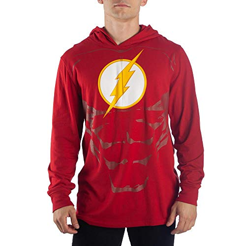 Flash Lightweight Hoodie DC Comics Cosplay Flash Gift - DC Comics Hoodie Flash Cosplay-Medium red]()