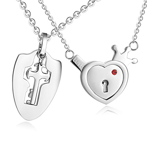 - Titanium Stainless Steel Your Key to My Heart Tag Couple Pendant Necklace Matching Set Valentines Gift (A Set)