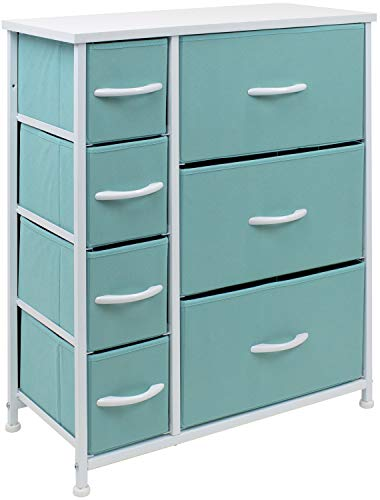 Sorbus Dresser with 7 Drawers - Furniture Storage Chest for Kid's, Teens, Bedroom, Nursery, Playroom, Clothes, Toys - Steel Frame, Wood Top, Fabric Bins (Pastel Aqua)