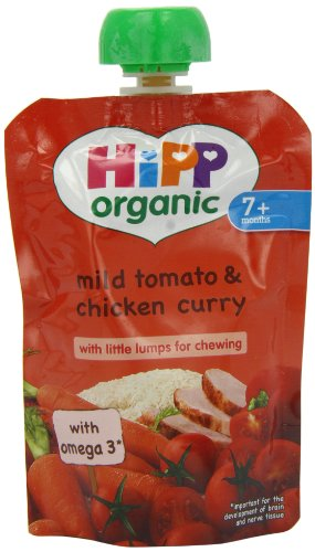 Hipp Organic Mild Tomato and Chicken Curry Pouch Stage 2 from 7 Months 130 g (Pack of 2, Total 10 Pouches)