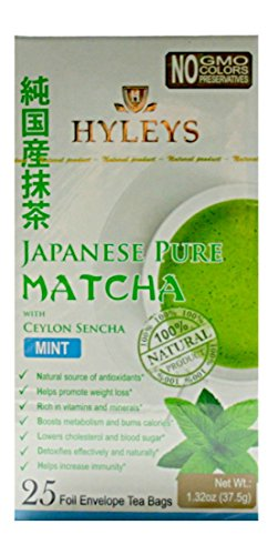 Hyleys 100% Natural Japanese Pure Matcha Tea with Ceylon Sencha and Mint, 25 teabags (1 - Hills Mall Green Of
