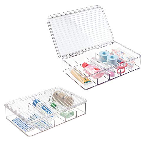 mDesign Rectangular Plastic Stackable Storage Box with Hinged Lid for Organizing First Aid, Medicine, Ointments, Dental, Diabetic Supplies - 5 Divided Compartments, Pack of 2 - Clear