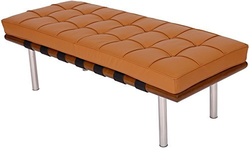 MLF Pavilion Morden Bench - High Resilient Foam,Italian Leather,Mattress Detachable (52 Inch/132cm, Light Brown Italian Leather + Light Walnut)