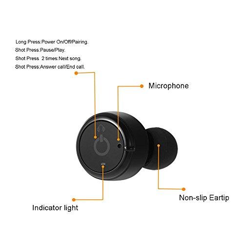 leshp Wireless Bluetooth Headset, Mini auriculares bluetooth 4.2, almohadillas de auriculares Bluetooth estÉreo inalÁmbricos en Ear, con cargador portátil, 3pares tapones, micrófono incorporado, para negro
