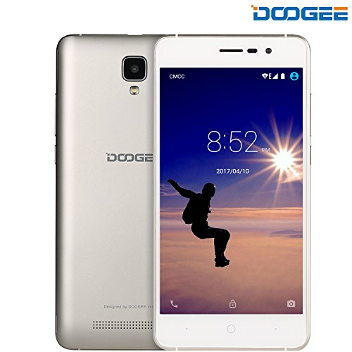 DOOGEE X10, Unlocked Cell Phones Android 6.0 - 5.0'' IPS Display - 3360mAh Battery - 8GB ROM - 5MP Camera - 3G Smartphone Unlocked - Gold