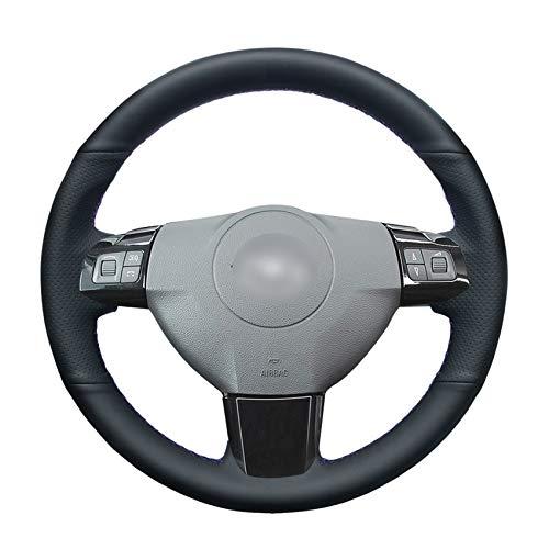 PSTPPZ Cubierta del Volante del Coche de Cuero Artificial PU Negro Cosido a Mano para Opel Astra 2004 2005 Opel Corsa 2009