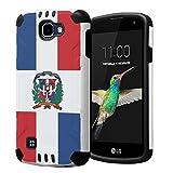Capsule Case Compatible with LG K4 VS425, LG Optimus Zone 3, LG Spree, LG Rebel LTE [Dual Layer Slim Defender Armor Combat Case White] - (Dominican Republic Flag)