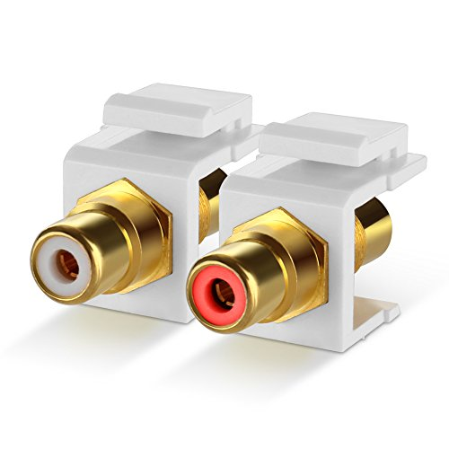 TNP RCA Keystone Jack Insert Connector Socket Modular Adapter Snap In Female 2RCA Port Gold Plated Inline Coupler For Wall Plate Outlet Panel Mount, 2 Channel Audio Red + White (Surface Mounted Modular Jack)