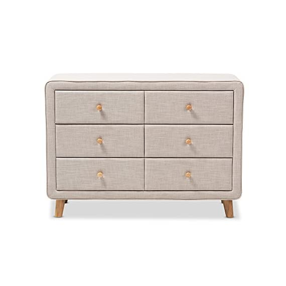 Baxton Studio IsabelleMid-Century Beige Linen Upholstered 6-Drawer Dresser, Dresser, Beige - Mid-Century dresser Polyester fabric upholstery Six drawers, each with natural oak buttons drawer pulls - dressers-bedroom-furniture, bedroom-furniture, bedroom - 41SnixXhG1L. SS570  -