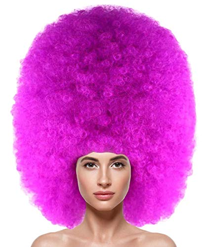 Halloween Party Online Super Size Jumbo Afro Wig Collection, Adult & Kids (Adult, Neon Fushsia) ()
