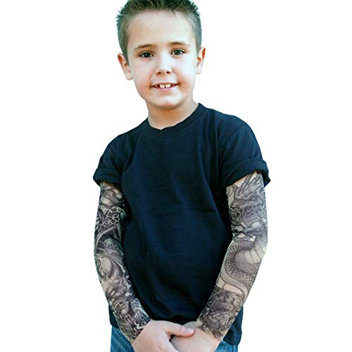 Wild Rose 720 Little Boys' Tattoo Shirt Cotton Tee Mesh Sleeves, Grim Reaper/Frankenstein, Black, 2/4
