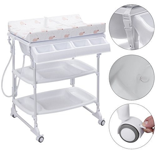 Baby Infant Bath Changing Table w/ Tube White by Apontus
