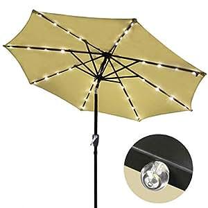 Outdoor Tilting Patio Umbrella 9 39 Tan With 32 Led Lights Patio Lawn Garden
