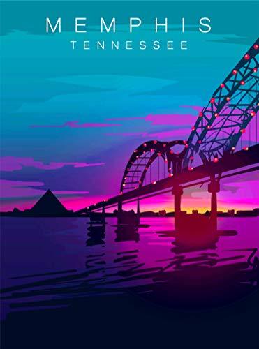 (A SLICE IN TIME Memphis Tennessee Night Sky Hernando de Soto Bridge Retro United States Travel Home Collectible Wall Decor Advertisement Art Deco Poster Print. 10 x 13.5)