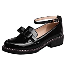 Susanny Women's Buckle Slip on Ankle Wrap Mary Jane Sweet Cute Leather Round Toe Platform Bow Oxfords Shoes