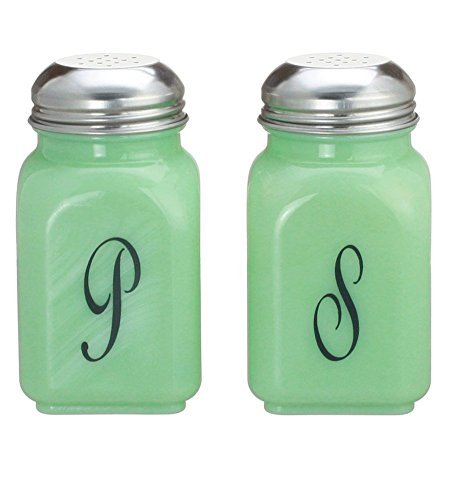 Square Jade Green Glass Salt & Pepper Shakers Script S & P ()