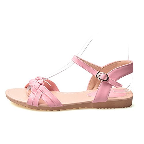 AalarDom Mujer Puntera Abierta Mini Tacón Pu Sólido Sandalias de vestir Rosa-ZHI