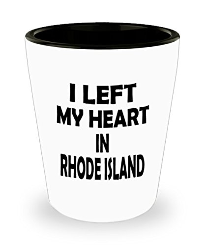 Funny Rhode Island Gifts White Ceramic Shot Glass - I Left My Heart In - Best Inspirational Gifts and Sarcasm