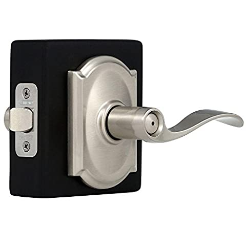Schlage Camelo Bed & Bath Lever Handle Satin Nickel Finish (SH F40 V ACC 619 CAM) (Schlage F40 Acc 619 Cam)