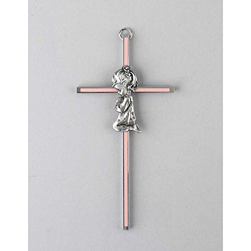 Praying Little Girl Pink 6 Inch Metal Hanging Wall Cross (Girl Praying Wall Cross)
