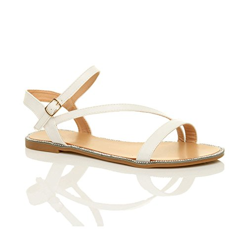 Ajvani Sandals White Flat Women Trim Rhinestone Size Plain rwqrCRF