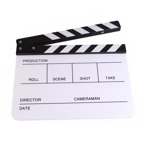 PMLAND Professional Studio Camera Photography Video Acrylic Clapboard Dry Erase Director Film Movie Clapper Board Slate with White/Black Sticks