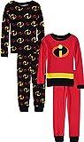 Pixar Boys' Toddler Incredibles Uniform 4-Piece Cotton Pajama Set, red, 3T