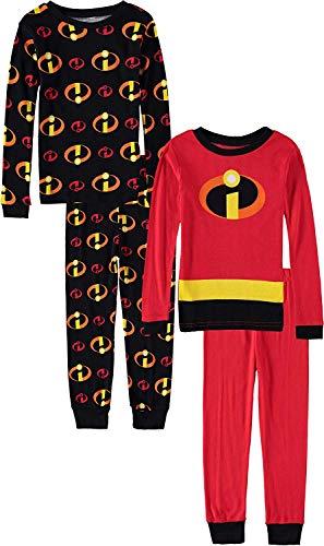Pixar Boys' Toddler Incredibles Uniform 4-Piece Cotton Pajama Set, red, 4T