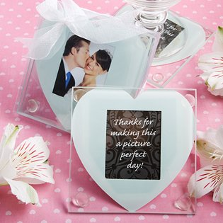Heart design glass coaster favors