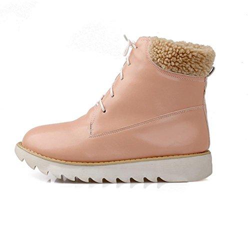 H HDonna in inverno (rosa, beige, blu) davanti a pizzo con scarpe da neve in gomma anti-skid usura , Pink , 37