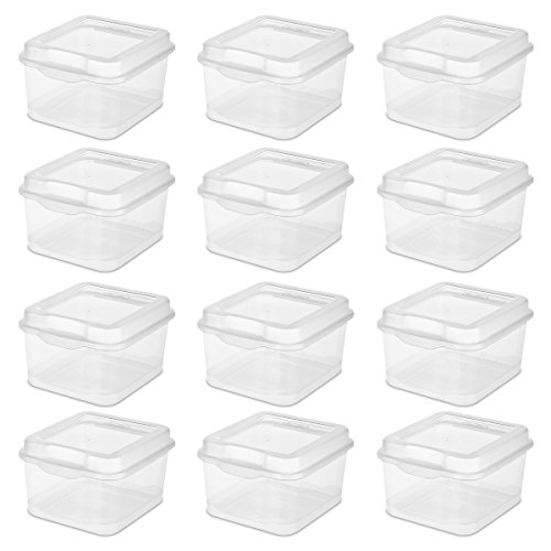 STERILITE 18038612 Flip Top, Clear, 12 Pack
