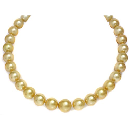 - 14K Gold 16-12mm Deep Golden South Sea Pearl Necklace - AAA Quality, 18