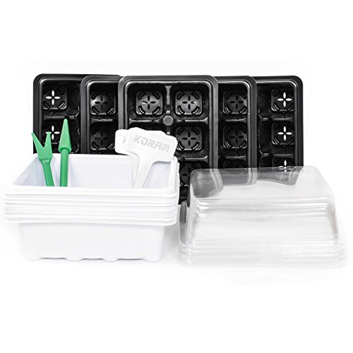 KORAM 10-Pack Seed Starter Trays 60 Large Cells Seedling Tray Plant Grow Kit with Lid and Base for Seed Germination (6-Cell Per Tray), 10 Plant Tags