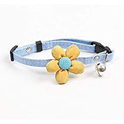 RONSHIN Adjustable Necklace Flowers Design Dog Collar with Bell for Kitten Teddy Poodle Pets Supplies Yellow Flower One Size (25cm-32cm)