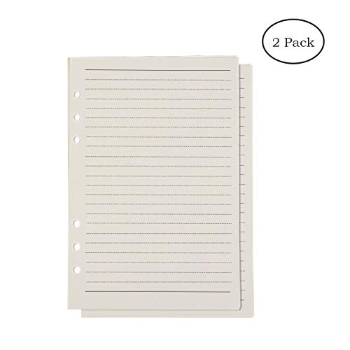 "HOY Filler Paper Per Pack 8.27""x 5.6"" College Ruled Paper 6 Holes 80 Pages For A5 Per Item Lined Paper For 6 Ring Binders Loose Leaf Paper 2 Refill per Pack"