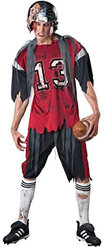 Mens Dead Zombie American Football Player + Helmet Sports Halloween Fancy Dress Costume Outfit M-XL ... (X-Large)