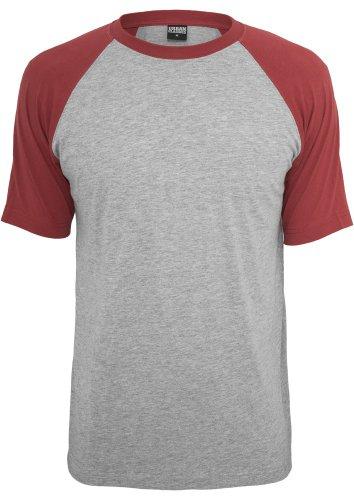 TB639 Raglan Contrast Tee T-Shirt, Größe:2XL;Farbe:gry/ruby