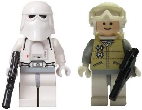 Lego Hoth Snow Trooper & Rebel Trooper (Loose) Star Wars Figures with Guns