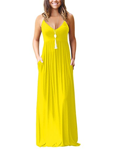 Dress Sandals Yellow (Chic-Lover Women's Summer Sleeveless Loose Plain Maxi Dress Casual Flowy Vacation Long Dresses with Pockets (Yellow, S))