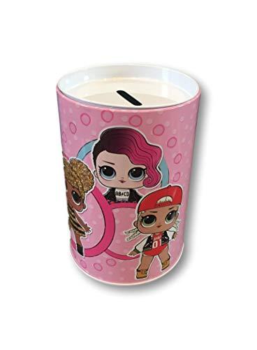 L.O.L. ¡Sorpresa! Bank Tin Coin Bank con L.O.L. Doll Graphics 6 H 6 D (Serie Pink Glitterati)
