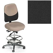 Office Master 24-7 Collection IU77PD Ergonomic Heavy-Duty Chair - No Armrests - Grade 1 Fabric - Basic Black 1020 PLUS Free Ergonomics eBook