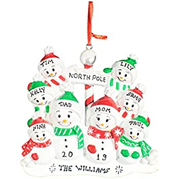 Personalized Christmas Tree Decoration Ornament 2019 - Traditional Home Décor - New Year Santa Gift - Holiday Fun w Hanging Hook - North Pole Family of 8 - Free Customization